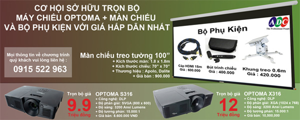 Sở hữu máy chiếu Optoma S316 - X316  trọn bộ với giá ưu đãi